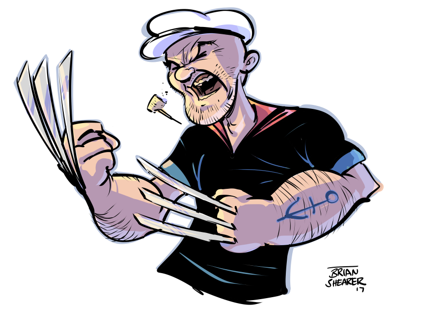 how to draw popeye the cartoon character