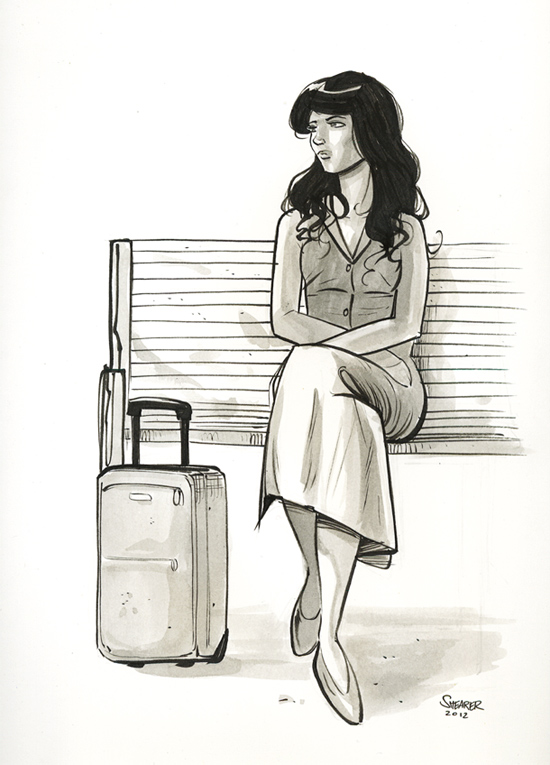 Daily Sketch: Girl Waiting